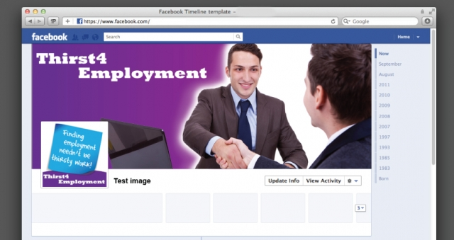 A Facebook design for Thirst 4 Employment.