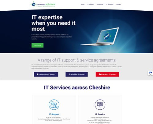 A screenshot of a website designed by am:pmgraphics for Owness Solutions Ltd