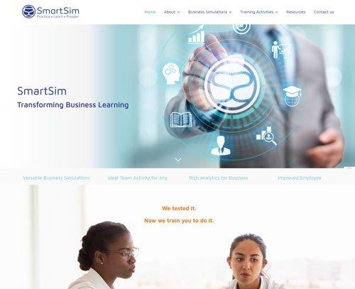 A screenshot of a website designed by am:pmgraphics.com for SmartSim Global