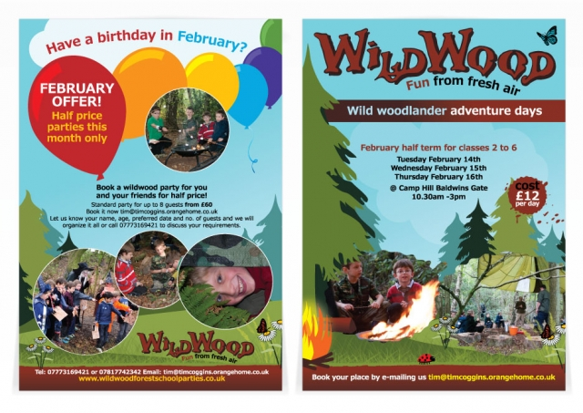 A double sided A5 flyer design for WildWood